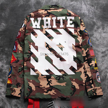 2014 best quaity winter rare newest hip hop OFF white stripe 13 print men windbreaker camo pocket embroidery badge JACKET coat(China (Mainland))
