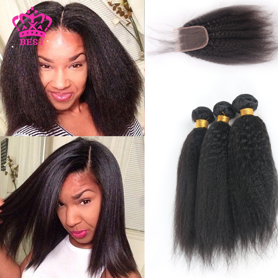 Brazilian Kinky Straight Hair Weave Bundles With Closure 3 Bundles With Lace Closures Virgin Hair Straight Coarse Yaki 3 Pcs/Lot<br><br>Aliexpress