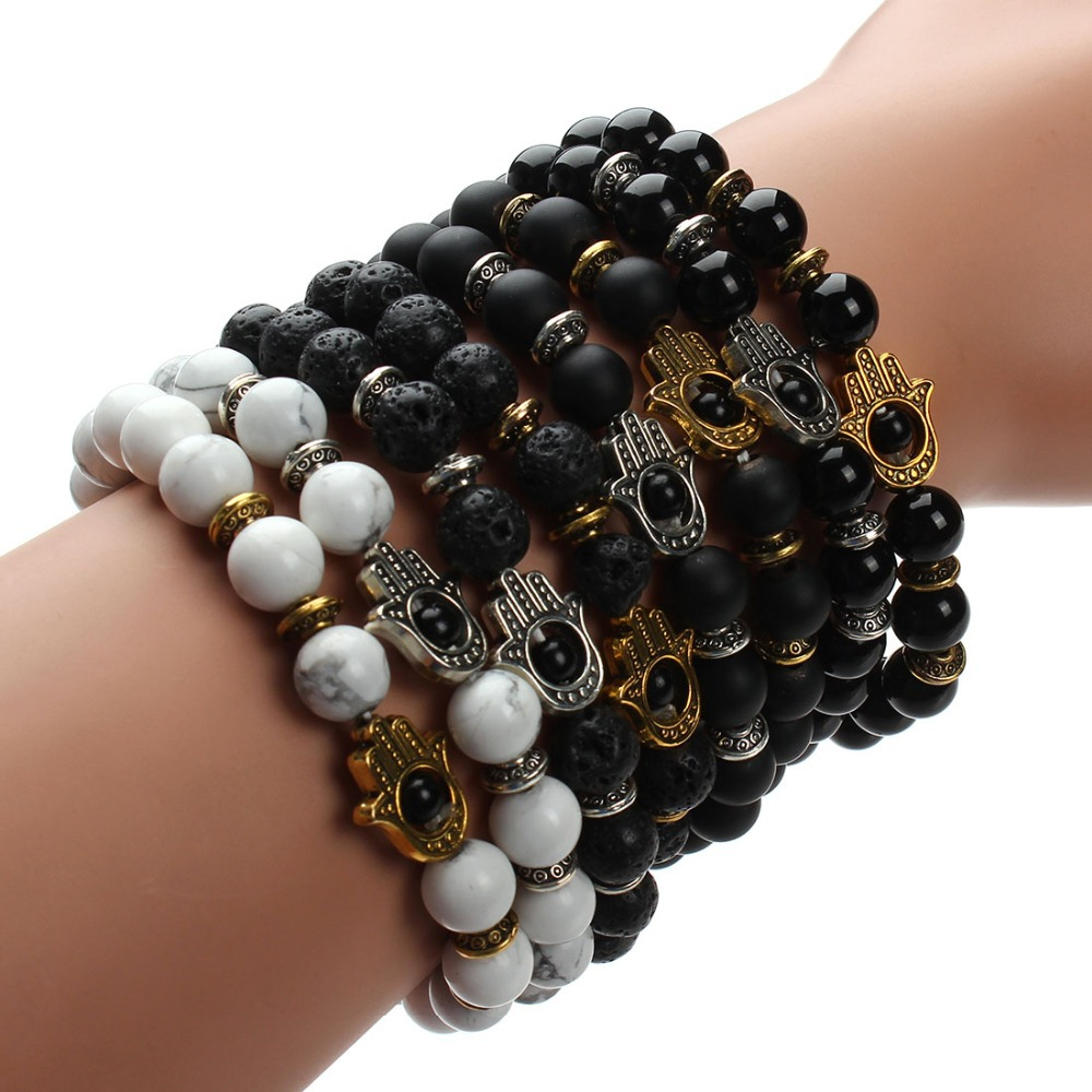 2015 Black Lava Natural Stone Love Bracelets Bangles Friendship Evil Eye Agate Stone Beads Bracelets For