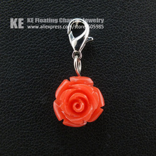 Floating Charms Fashion Coral Red Flowers Multi-Function Pendant Zinc Alloy Jewelry Pendant Necklace Free Shipping FDDZ036(China (Mainland))