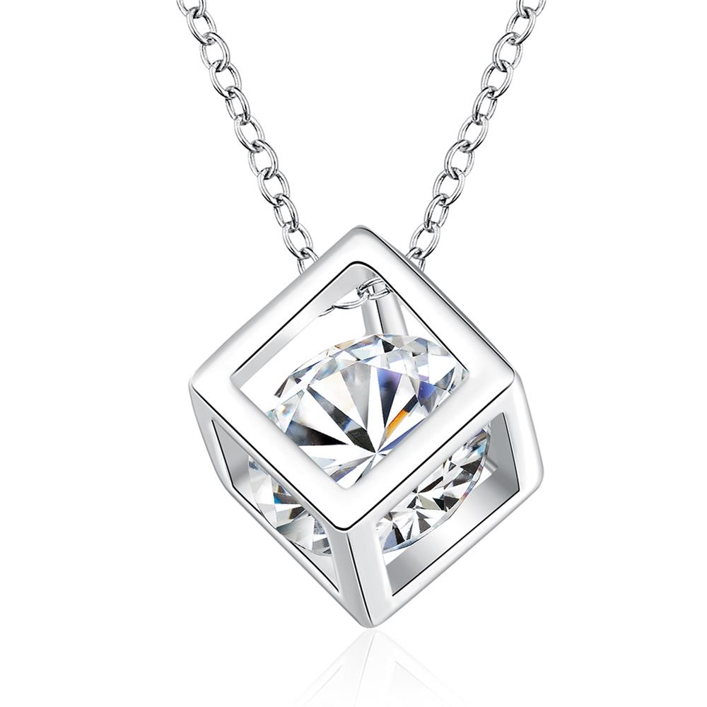 2016 Fashion Cubic Zirconia Cube Chain Necklaces Copper Silver Plated Crystal Pendants(China (Mainland))