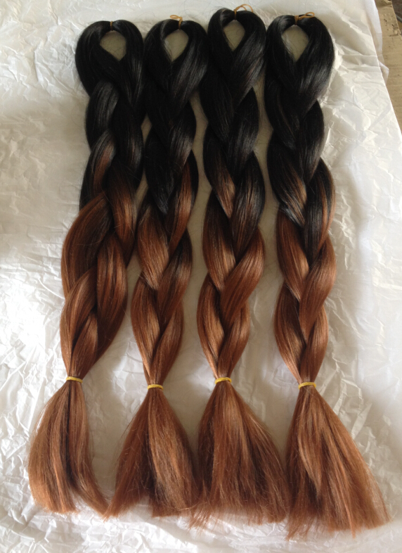 """Popular Ombre Color Black/Brown African Black Women Vogue Two Tone 24"""" 5pcs Full Head Synthetic Hair Braids Hair Bulk Extension(China (Mainland))"""