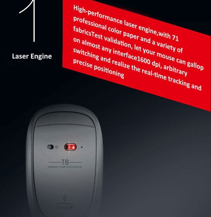 Rapoo T8 5G Laser Wireless Silent Touch Mouse Top Design Professional Ergonomic Business Magic Gaming Mice For laptop computer