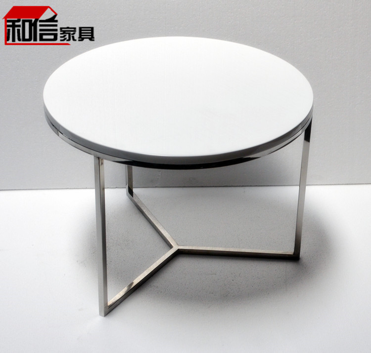 Black and white paint stylish minimalist living room coffee table round coffee table stainless Black and white coffee table