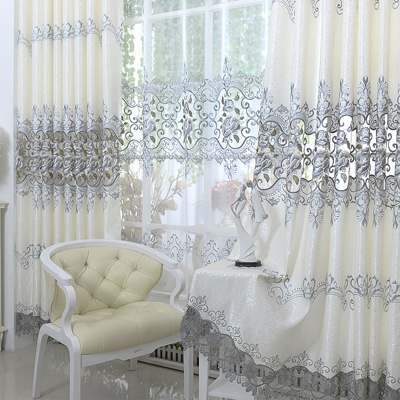 2016 New Europe Embroidered Tulle Window Curtains For