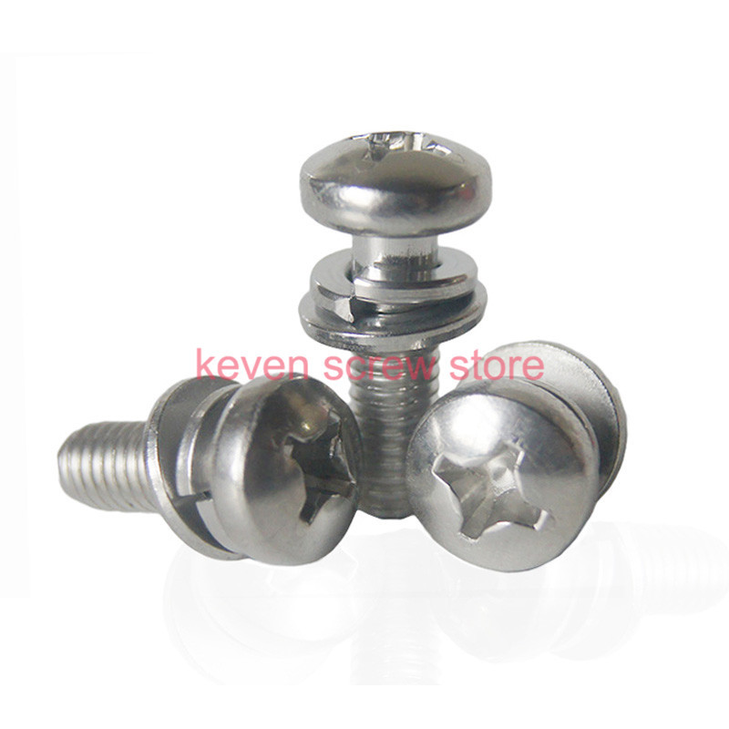 Free Shipping 50pcs/Lot M4x35 304 Stainless Steel combination of pan head screw screw+Flat washer+Spring washer<br><br>Aliexpress