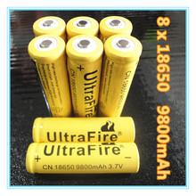 8 PCS Li-ion 9800mAh 3.7V Rechargeable Battery 18650 for LED Torch Flashlight