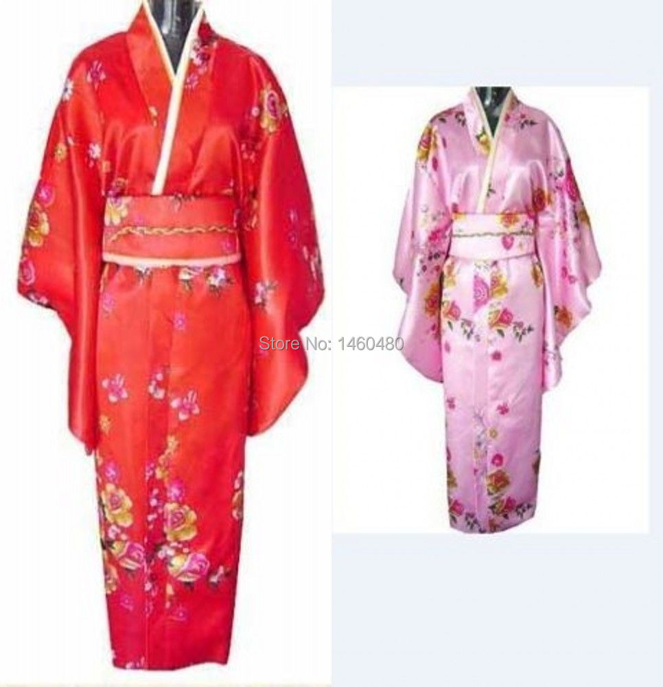 Charming Chinese Silk Women's Kimono Robe Gown with obi Red pink Average size(China (Mainland))