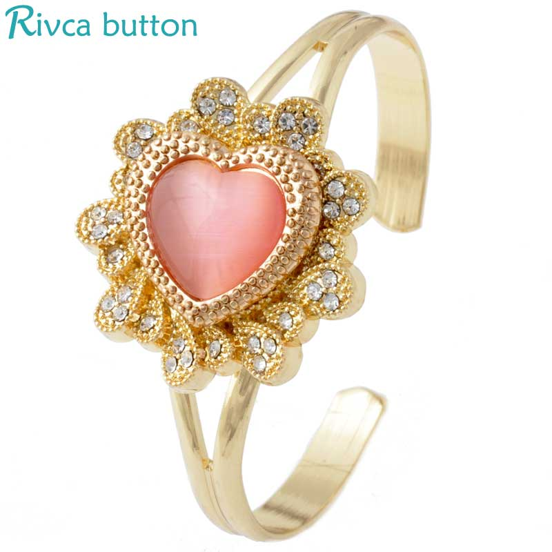 P00978 Newest Snap Button Bracelet&Bangles Men Gold Plating Charm Cuprum Bracelets For Women Gifts Fit 18mm Rivca Snap Jewelry(China (Mainland))