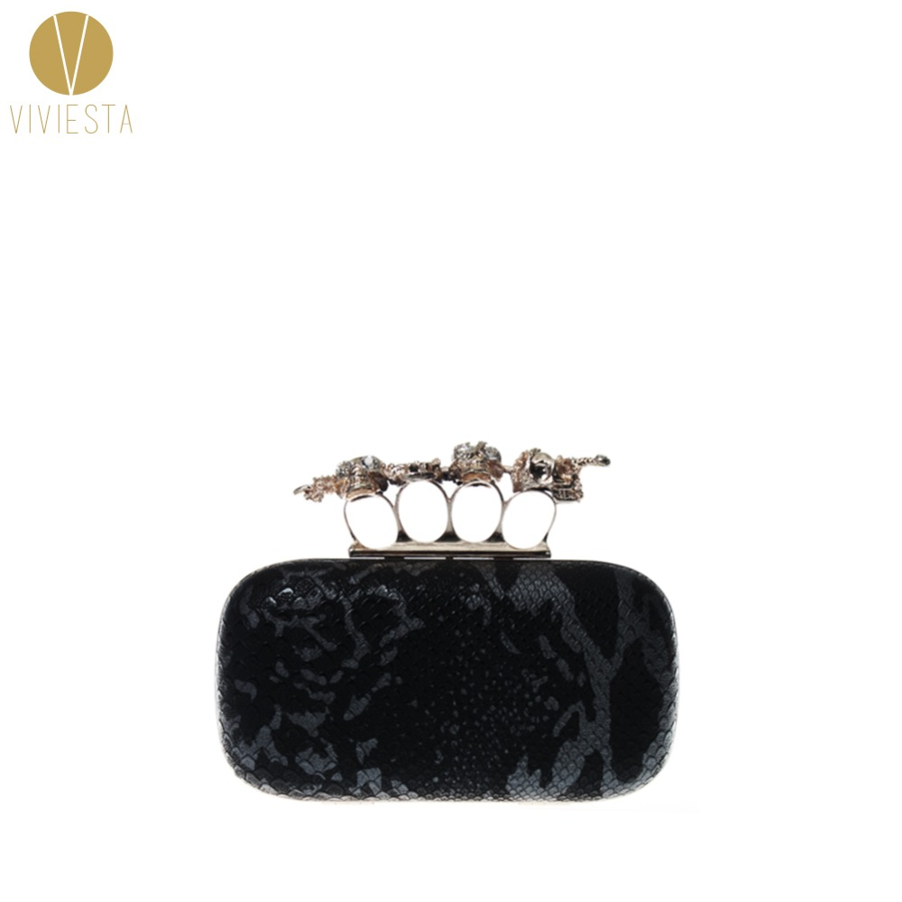 SKULL AND SWORD KNUCKLE RING CLUTCH - 2014 Women's Gothic Satin Punk Brass Knucklebox Box Banquet Evening Party Chain Purse Bag(China (Mainland))