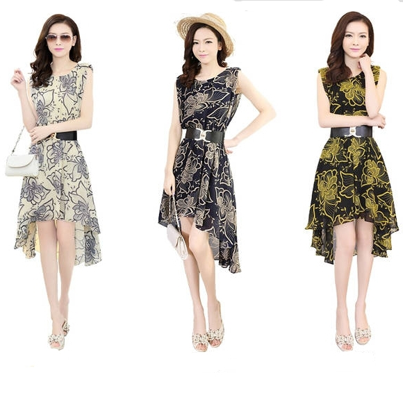 Women's Summer Fashion Casual Slim Fit Large Size Printed Forked Tail Chiffon Dresses , - LEAD FASHION store