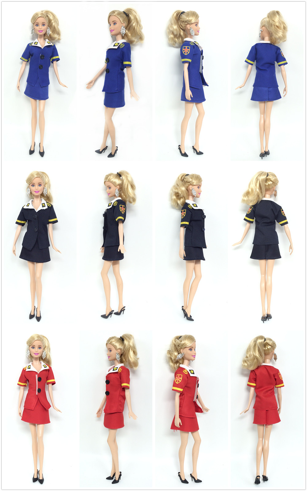 NK three Set/Lot  Latest Doll Stewardess uniforms Style Police Garments Celebration Outfit For Barbie Doll Finest Cosplay Costume