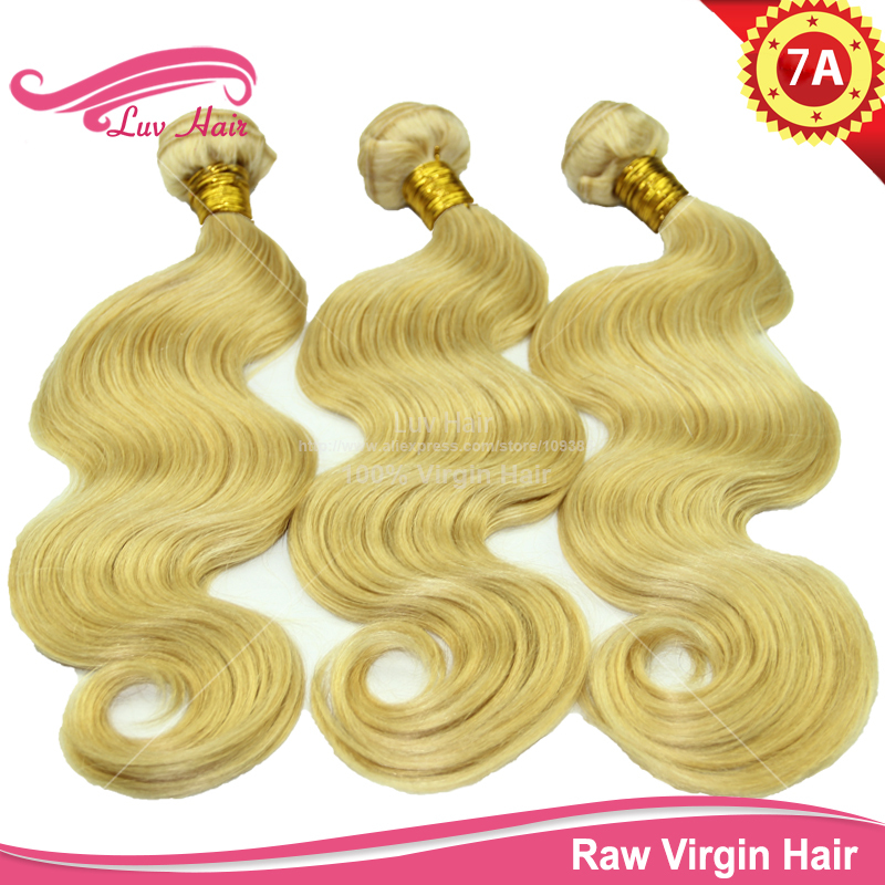 beauty hair products cheap hair double drawn weft 613 blonde human hair weaves body wave virgin russian hair(China (Mainland))