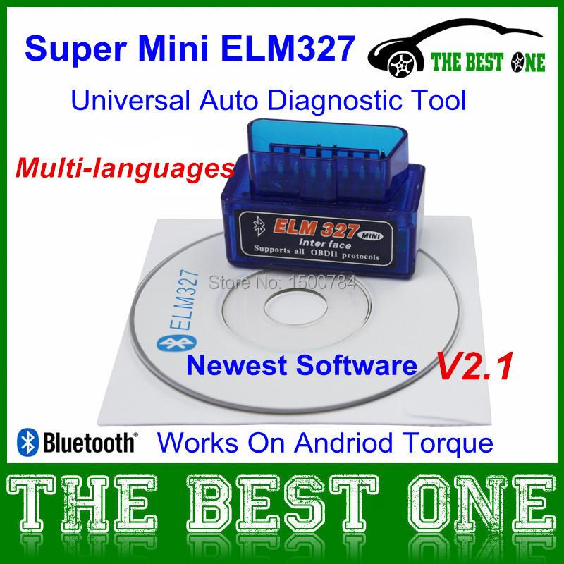 2014 Super Mini Elm327 Bluetooth V2.1 Interface ELM 327 OBD2 / OBD II Universal Auto Diagnostic Scanner Works Android Torque - Eastern charm store
