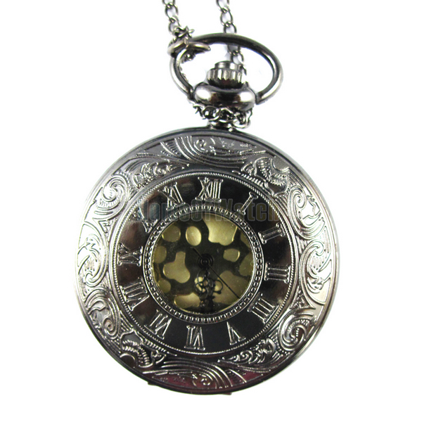 Wholesale 5pcs Silver and copper-colored Bronze alloy Shell displays a digital ID quartz pocket watch (NBW0PO7804-CW3_5)(China (Mainland))