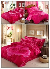 Home Hotel 3D Cotton 4Pcs Bedding Sets Rose Red Rose Bedclothes Set Bed Linens Duvet Cover Quilt Cover Flat Bed Sheet Pillowcase(China (Mainland))