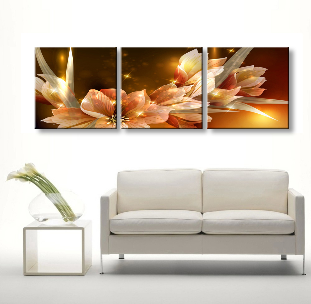 3 Piece Cheap Abstract Modern Wall Painting Transparent Flowers Home Decorative Art Picture