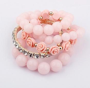 Min. order is $10(mix)Fashion hot sale vintage multilayer charm bead Rose Flower Pearl bangles bracelets SPX2398