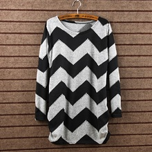 Women Stripes Crewneck Pullover Fashion New Long Sleeve Casual Loose Sweater Knitted Tops 4058 Free Shipping(China (Mainland))