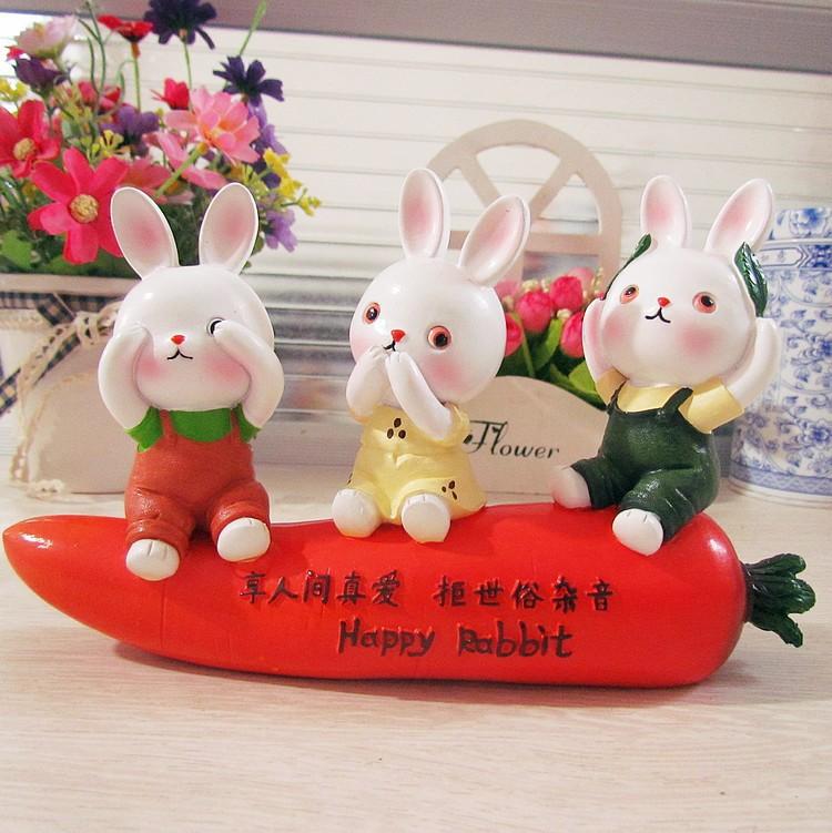 2xCarrot rabbit sits resin doll car furnishing articles Car home dual-use cartoon furnishing articles(China (Mainland))