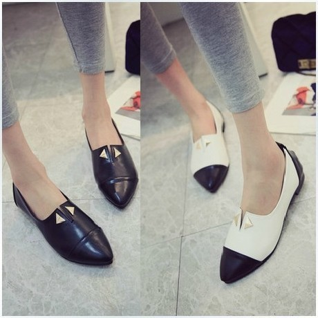 high quality 2014 new fashion style women genuine leather shoes summer  platform women's ballerina  flats slip on black color(China (Mainland))