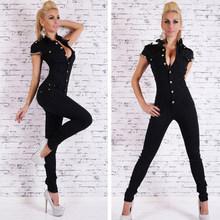 2017 Модный женский джинсовый длинный комбинезон, сексуальный глубокий v-образный вырез, джинсовые комбинезоны с пуговицами и цепочкой, черны...(China)