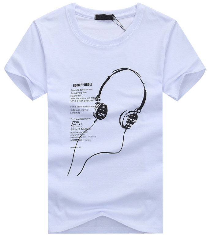 Free shipping! men's T-shirt 2016 summer new cotton men's short-sleeved t-shirt Slim round neck long Headphones T-shirt(China (Mainland))