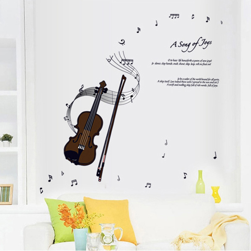 1pcs Music Violin Wall Sticker Home Decoration Accessories Decals Window Room Hall Wallpaper Poster Mural DIY pegatinas de pared(China (Mainland))