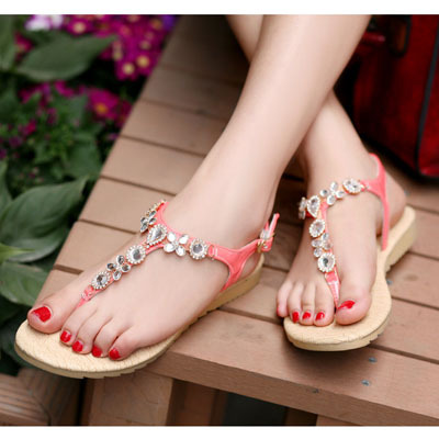 ENMAYER Brand New Bohemia Beaded Rhinestone Sandals Fashion Women Summer Flats Casual Shoes  Size 34-43<br><br>Aliexpress