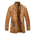 Fashion Motorcycle Leather Jackets Lining Faux Fur Jacket Brand Mens Winter Fleece Thick Warm Trench Coat