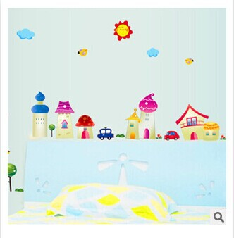 Cartoon Urban decals wall sticker child role of children's diy adhesive art mural poster removable vinyl wallpaper AY7059(China (Mainland))
