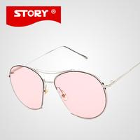STORY Fashion Aviation Sunglasses Women Brand Designer Summer Color Sun Glasses British Nose Pads Eyeware oculos de sol feminino