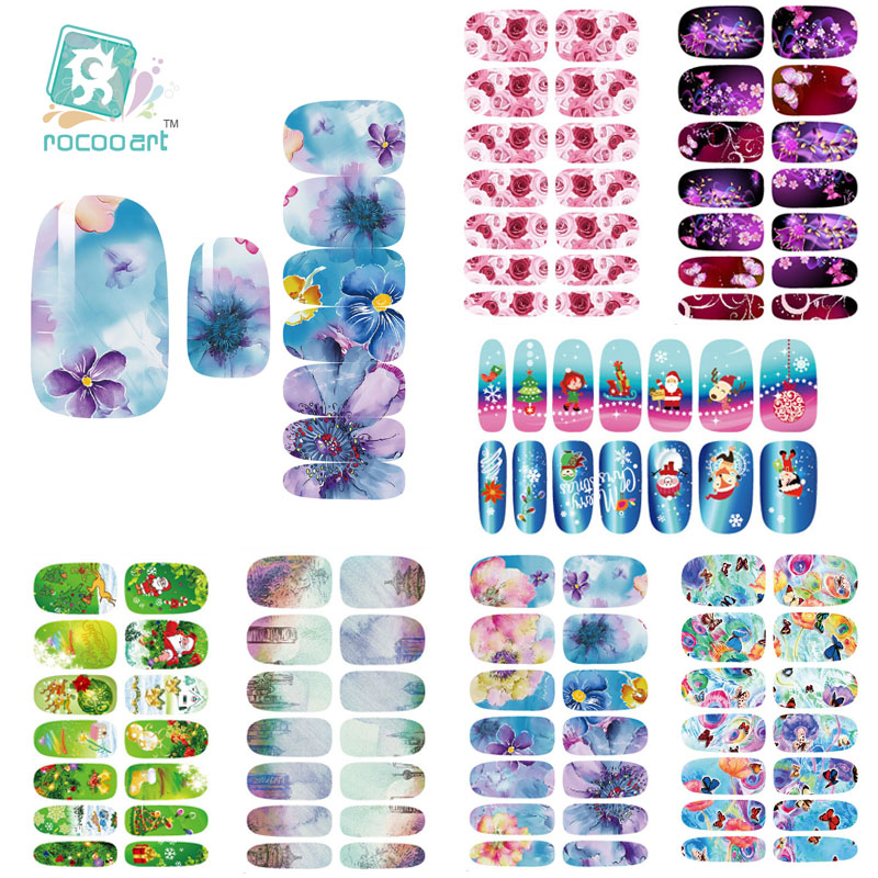 K2 Multi Color Water Transfer Nail Art Sticker Chinese Ink Rose Flowers Christmas Nail Wraps Sticker Manicure Decor Decals Foils(China (Mainland))