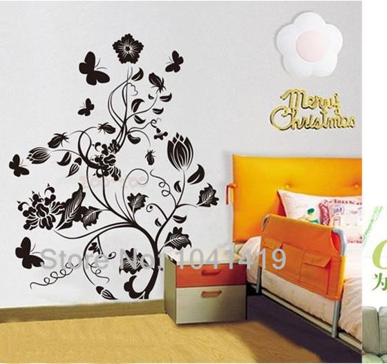 10Sets Wholesale Black Flower Tree DIY 3D Wall Art Removable Decal Stickers Repetitive Use Room Wall Sticker(China (Mainland))