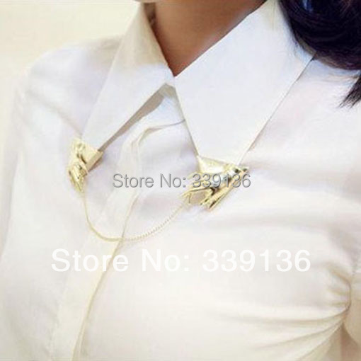 1pc Punk Golden Tone Hand Finger Triangle Blouse Shirt Collar Clips Neck Tips Link Chain Tassels Brooch Lapel Pin - BEYOND JEWELRY (No minimum order limit store)
