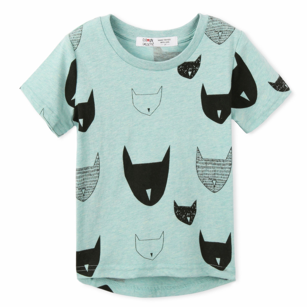 Free Shipping 2015 Brand New Summer Kids Tshirt 100%Cotton Jersey allover cat print Short Sleeves boy's girls baby T shirts(China (Mainland))