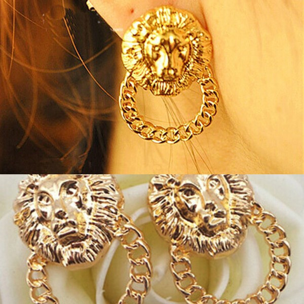 Free Shipping! Min. Order $10(mix order)! Personality Gold Hollow Chain Lion Head Earrings Stud Fashion Jewelry for Women Boys(China (Mainland))