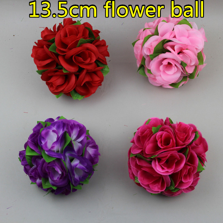 13.5cm Artificial Flowers Ball Silk Cloth Rose Kissing Hangging Decorative Bouquets Wedding Supplies Party Mall Decoration - Greenstyles store