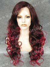 Kardashian Wig Long Wavy Auburn Synthetic Two Tone Lace Front Wig