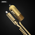 Remax USB Car Charger 3 4A with 1 5m Spring Shape 2 in 1 USB Cable