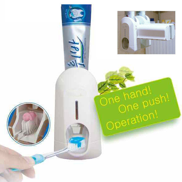 New White Household Portable Hands Free Automatic Toothpaste Dispenser + Brush Holder Touch Set Bathroom Products PTSP(China (Mainland))