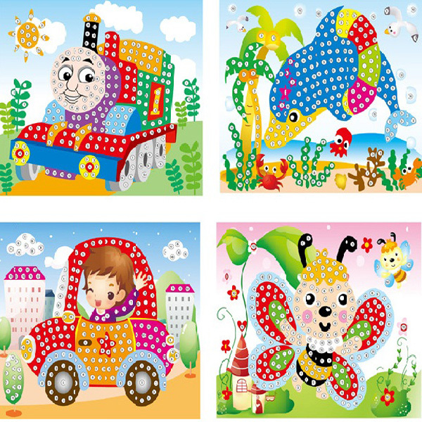 Kids DIY Cartoon Diamond Painting By Numbers Handicraft Art Craft Sticker Material Educational Toys for Children Gift 5pcs/lot(China (Mainland))