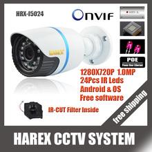 1280*720P 1.0MP ONVIF 2.0 Waterproof Outdoor IR CUT Night Vision P2P Plug and Play Mini Bullet POE IP Camera, free shipping(China (Mainland))