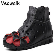 Veowalk New Arrival 2016 Fashion Women Autumn And Summer Genuine Leather Boots Handmade Vintage Flower Ankle Botines Shoes Woman(China (Mainland))