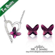 Wholesale Crystal Butterfly Earrings Heart Necklace Purple Jewelry Sets 10sets/lot Free Shipping(China (Mainland))