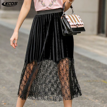 Buy new summer 2017 bust skirt tall waist Europe United States cultivate one's morality lace stitching bust word sk for $21.00 in AliExpress store