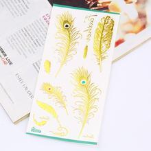 2016 fashion Jewelry Gold Types Tattoos Jewelry Temporary Tattoos Stickers Flash Tattoo Style Body Art Feather Type(China (Mainland))