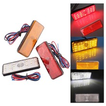 New 2x Universal LED Reflector White Red Yellow Rear Tail Brake Stop Marker Light For SUV Truck Trailer Motorcycle Car(China (Mainland))