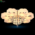 Modern Minimalism Plum Flower Design Acrylic Lustre De K9 Crystal Led Chandelier Novelty 3Color Dimmable PMMA