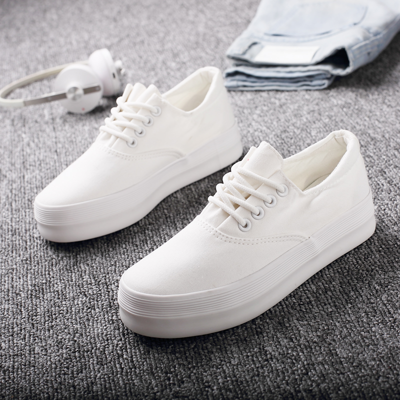shoes women Autumn platform white canvas female white shoes flat heel shoes cotton-made flat shoes lace-up(China (Mainland))